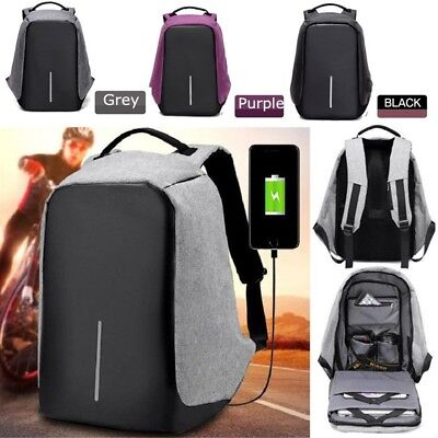 Unisex Anti-theft Backpack USB Charge Port  Waterproof Oxford School Travel Bag