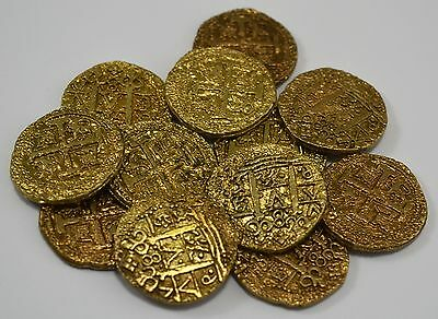 Superb Job Lot 12 Spanish Gold Doubloons - Coins/Pirates/Treasure/Spanish/Gift