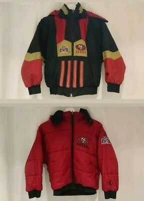 Vintage 90s NFL SF 49ers Red Black Reversible Padded Hooded Jacket age 10-12