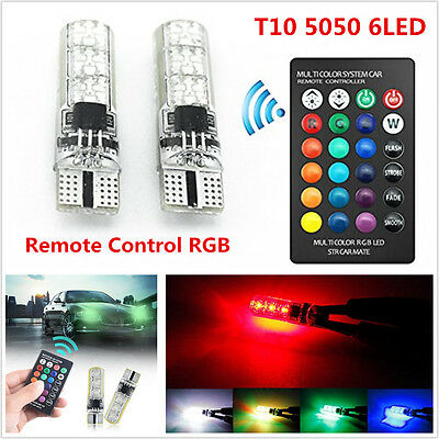 2x T10 6SMD 5050 RGB LED Car Wedge Side Light Reading Lamp Bulb + Remote Control