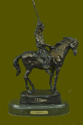 Signed Thomas Native American Indian Riding Horse Bronze Sculpture Statue Art