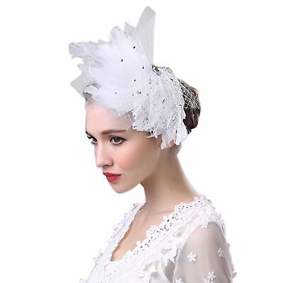 MeryaDress Womens Wedding Fascinators Ballet Feather Derby Cocktail Party Hat