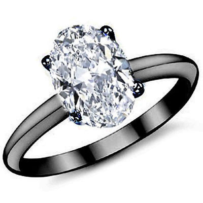 3CT Forever One Oval Moissanite 10x8MM 4-Prong Solitaire Ring 14K Black Gold