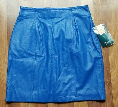 nwt NOS deadstock vintage 80s CHIA bright blue women's leather mini-skirt new 12