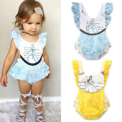 AU Stock Toddler Baby Girls Beauty and the Beast Romper Bodysuit Jumpsuit Outfts
