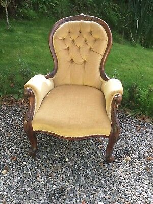 Antique Victorian Mahogany Framed Button Back Chair