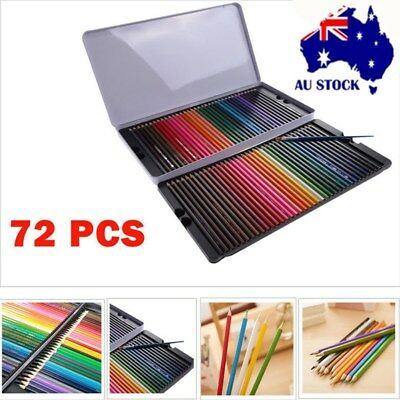 72 Pcs Metal Non-toxic Colored Soluble Drawing Sketching Water Color Pencils AU