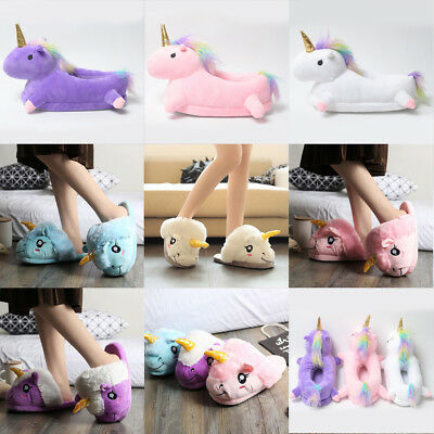 Women's Cute Rainbow Unicorn No Light Up Footwarmer Soft Shoes One Size Slippers