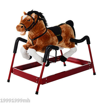 Qaba Kids Children Plush Spring Horse Rocker Ride On Toy with Realistic Sounds