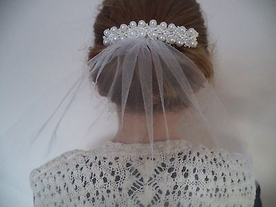 Beautiful Bridal, Communion, Hair Comb with short veil, White