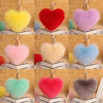 New Plush Heart Shape Pendant Keychain Handbag Bag Key Ring For Women Girls
