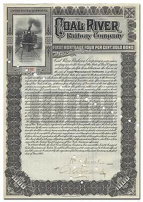 Coal River Railway Company Bond Certificate