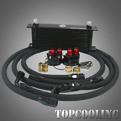 15 Row Aluminum AN10 Engine Oil Cooler +Filter Relocation Kits 3/4*16UNF & M20