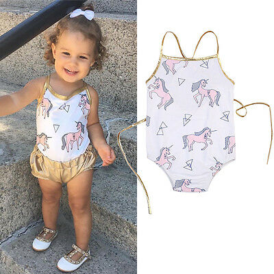 AU Stock Infant Baby Girls Unicorn Romper Bodysuit Jumpsuit Outfits Clothes Set