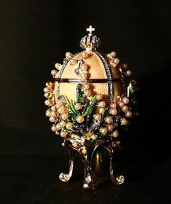 St Petersburg Russian Faberge Egg: Lilies of the Valley, 3.6""