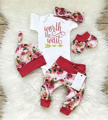 AU Stock Newborn Infant Baby Girls Worth the Wait Floral Romper Leggings Outfits