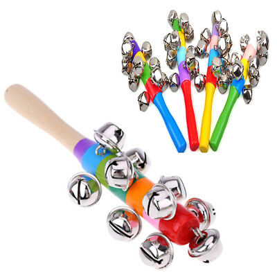 Rainbow Rattle Baby Kids Handbells Musical Developmental Wooden Toy Bed Bells