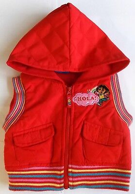 Dora the explorer baby girl gilet body warmer red hooded 12 month bnwots