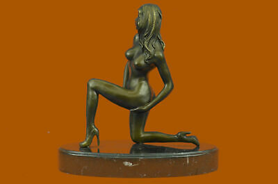 Bronze SIGNED CUBISM NUDE GIRL ABSTRACT MODERN ART FIGURE Sculpture Statue BC