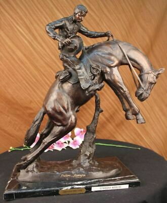Bronze Western Art Old School Brown Patina Hand Made Bronco Buster Sculpture BC