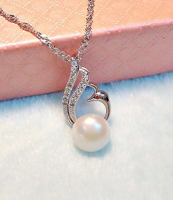 S925 Chain Genuine Freshwater Round Pearl(11mm) Silver Phoenix Pendant necklace