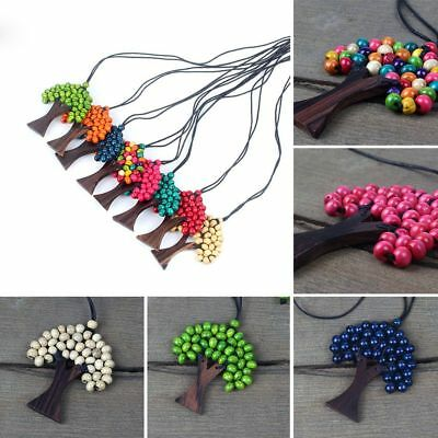 Bohemia Long Beads Wooden Necklace Tree Of Life Pendant