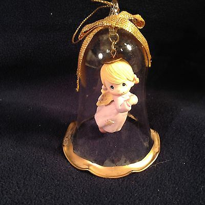 """12B Precious Moments 1994 Clear Bell Christmas Ornament 3.5"""" Girl Angel Blond"""