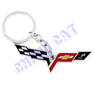 3D Chevrolet Corvette Car Key Ring Key Chains for C6 C7 Z06 ZR1 Silver Universal