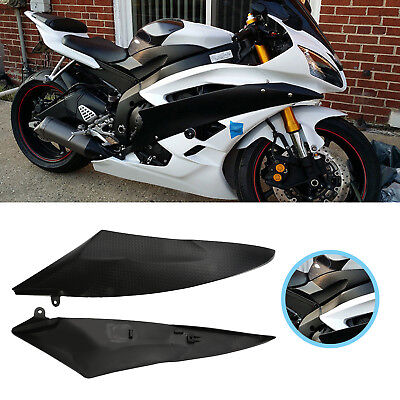 2Pcs Tank Side Fairing Panel Gas Carbon Fiber Cover For Yamaha YZF R6 2006 2007