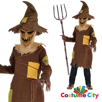 Childs Boys Scary Scarecrow Monster Halloween Horror Fancy Dress Costume