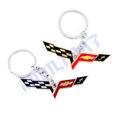 Universal 3D Chevrolet Corvette Car Key Ring Key Chain for C6 C7 ZR1 Z06 Z51 Etc