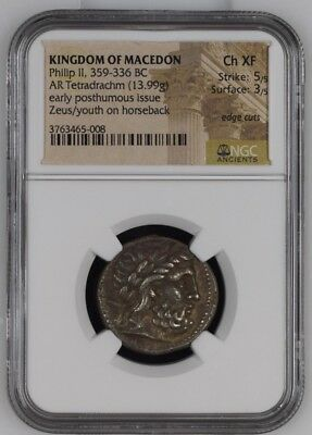 KINGS of MACEDON. Philip II. 359-336 BC. AR Tetradrachm NGC Certified