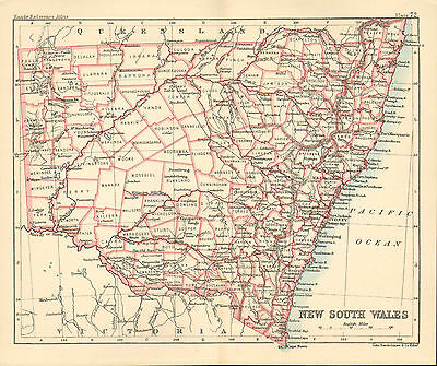 "1890 small map of "" new south wales "" by john bartholomew 1890"