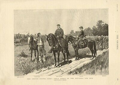 1891 print - united states army field dress of officers & men