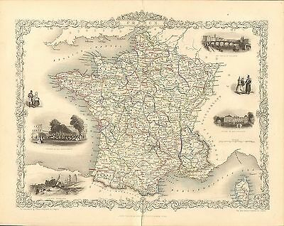 """1850s map """" the life and times of wellington """"  titled """" france """"  illustrated"""