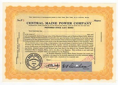 SPECIMEN - Central Maine Power Company Stock Certificate
