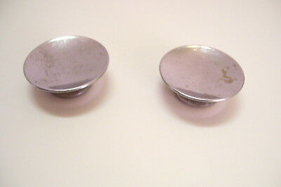 Pair Mid Century Chrome Cabinet Knobs Concave Drawer Pulls Dished 1 7/8 Inches