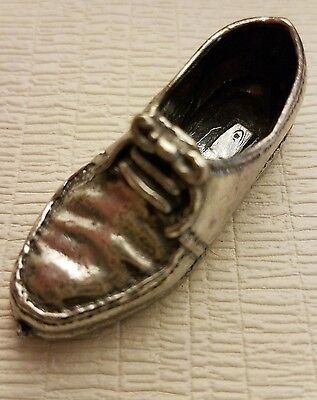 Vintage Miniature Sterling Silver Man's Shoe,  Highly Detailed