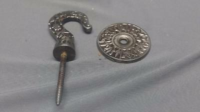 """Antique Victorian Ornate Celling Wall Plant Screw Hook Metal w Guard 5"""""""