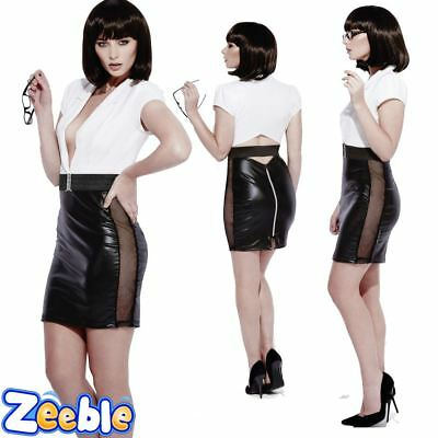 Womens Sexy Office Secretary Ladies Wet Look Role Play Fancy Dress Outfit