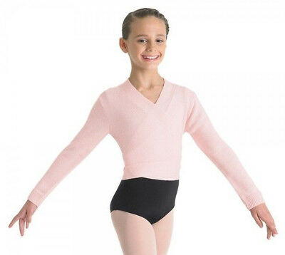 NWT Bloch Dance Lt Pink Long Sleeve Knit Front Wrap Sweater Top Sm Child CZ0999