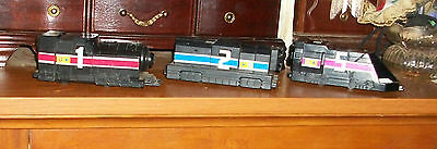 RARE 3  McDONALD'S HAPPY MEAL 2000 Toy Black Trains  Opens  vehicles inside