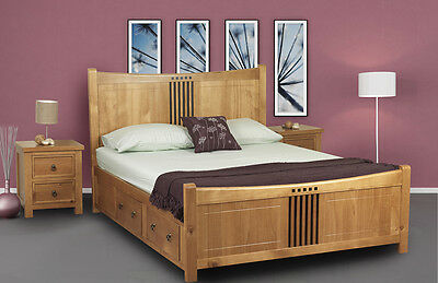 Sloane Oak Solid Wood 4 Drawer Bed Frame 4FT6 Double 5FT King Size 6FT