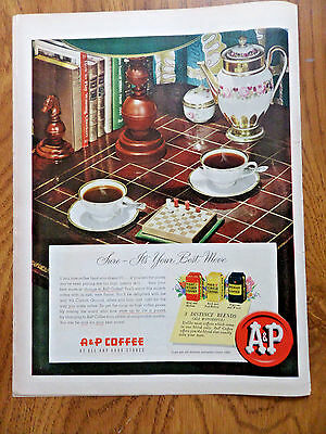1950 A & P Super Markets Ad A & P Coffee  Playing a Game of Checks