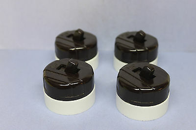 Lot of 4 Vintage Eagle Brown & White Bakelite Toggle Light Switch -NEW OLD STOCK