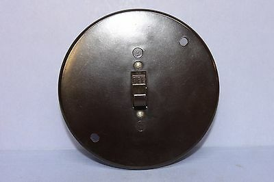 """Vintage BRYANT Single-Pole Brown Bakelite Toggle Switch & Plate for 4"""" Junct Box"""