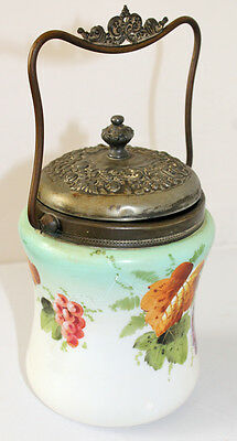 Antique Glass Biscuit Jar Hand Painted Ornate Metal Grapes