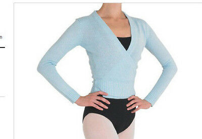 NWT Bloch Dance Blue Long Sleeve Knit Cross Over Sweater Cardigan Sm Adult Z0910