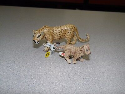 Schleich Leopard Female and Cub Set Retired Wild Life Figure Toy w/Tags
