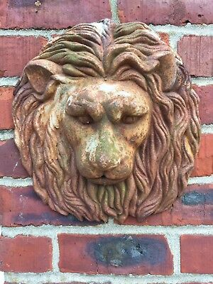 vintage cast iron lion face wall hanging fountain rust patina farm house